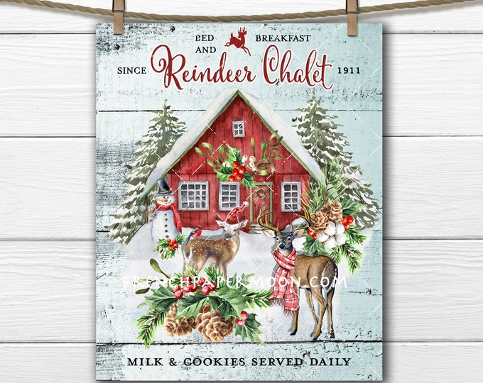 Christmas Reindeer, Winter Cabin, Snow Cabin, Red Cabin, Snowman, Fir Trees, Fabric Transfer, DIY Reindeer Sign, Wreath Accent, PNG