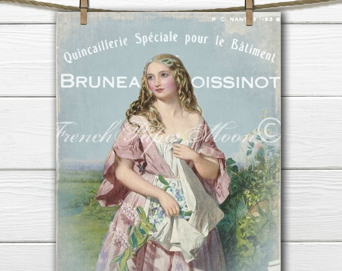 Digital Victorian Lady with Flowers, French Pillow Graphic, French Pillow Transfer Image Graphic, Instant Download