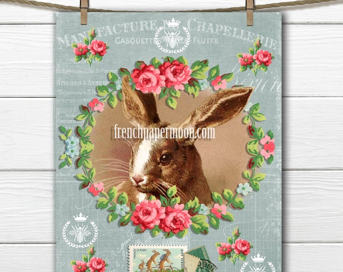 Vintage Shabby Easter Bunny Rabbit Instant Download Graphic Transfer French Style Bunny Rabbit Easter Pillow Image
