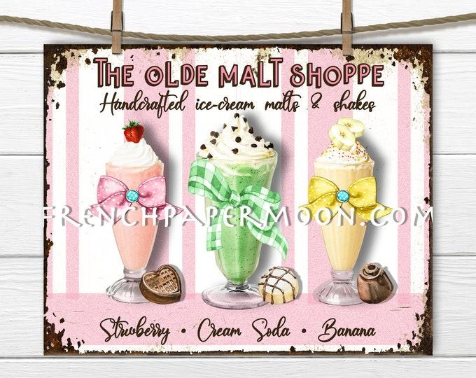 Retro Ice-cream, Ice Cream Parlor, Digital, Milk Shake Sign, Fabric Transfer, DIY Sign, Tiered Tray Decor, Wreath Decor, Decoupage, PNG