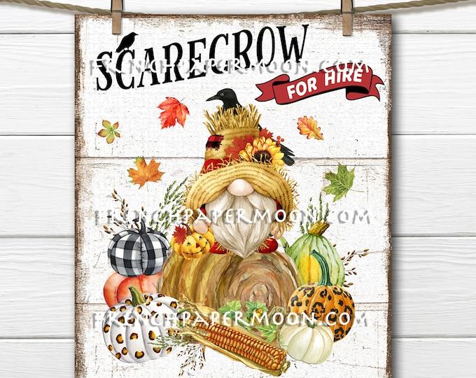 Gnome Scarecrow, Harvest Gnome, Autumn Harvest, Plaid Pumpkins, DIY Fall Sign, Wreath Accent, Iron on Fabric, Digital Print, Farmhouse, PNG