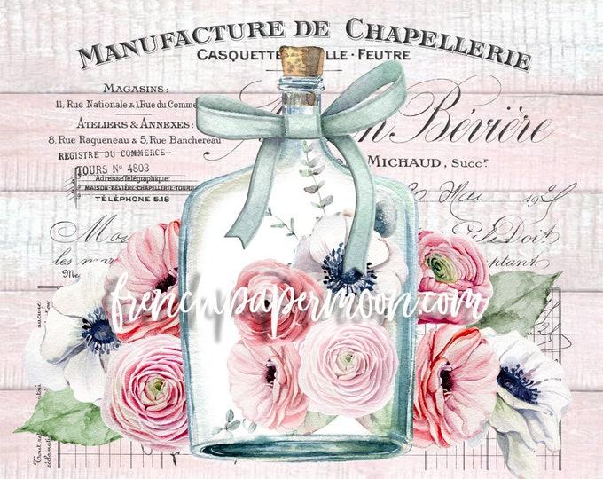 Shabby Pink French Floral Graphic, Digital Image, Anenomes, Ranunculas, Wood Background, French Ephemera, Glass Bottle printable