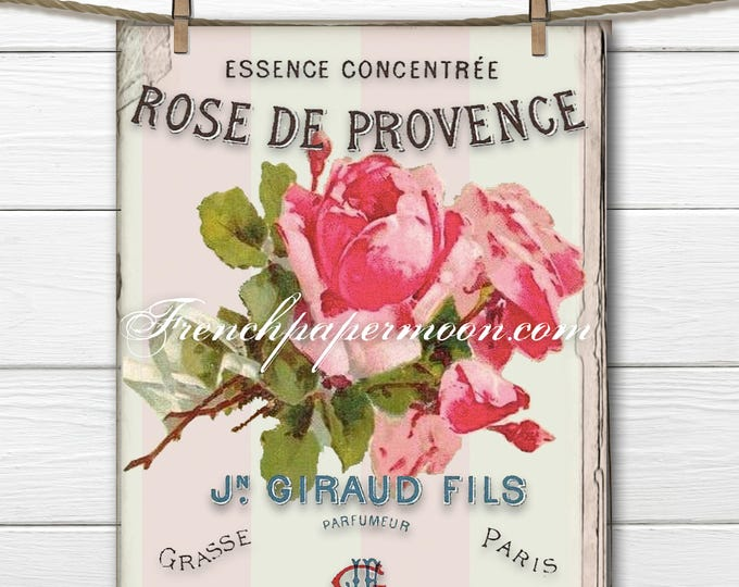 Digital SHABBY ROSES,  FRENCH Typography, Instant Download, Shabby French Pillow Image, Iron on fabric, Catherine Klein, Home Decor Roses