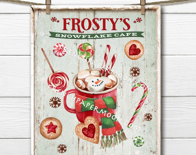 Frosty Snowflake Cafe, Hot Chocolate, DIY Christmas Sign, Christmas Candy, Winter Drink, Xmas Mug, Pillow Image, Wreath Decor, Crafts, PNG