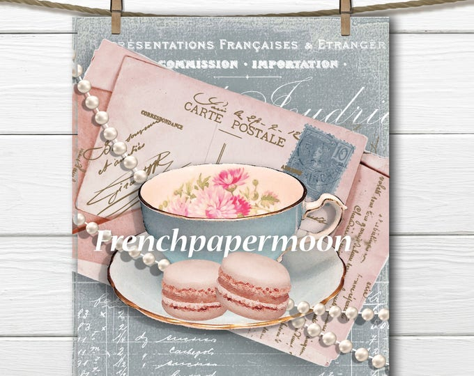 Vintage French Digital Teatime, Shabby Tea, Pearls, Carte Postale, Printable Tea Graphic, french Pillow Transfer, Large Size Graphic Print