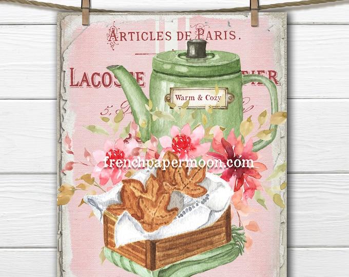 Pink Fall Tea Digital, Teatime, French, Autumn Tea, Teapot, Dahlias, Fall Pillow Image, Transparent, Fabric Transfer, Tiered Tray Sign