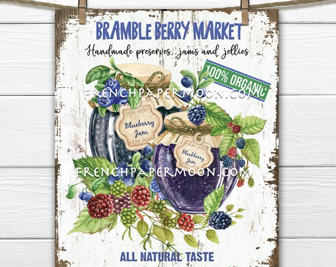 Berry Jam, Jam Jar, Fruit Preserves, Berry Market, Farmhouse Kitchen DIY Sign, Farmers Market, Preserves Sign, Wreath Decor, Wood PNG,