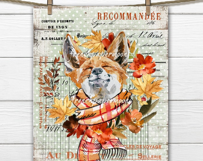 Fall Fox Digital, Woodland Animal, Autumn Wreath, Fox with Scarf, French Pillow Image, Wreath Sign, Tiered Tray Print, Transparent