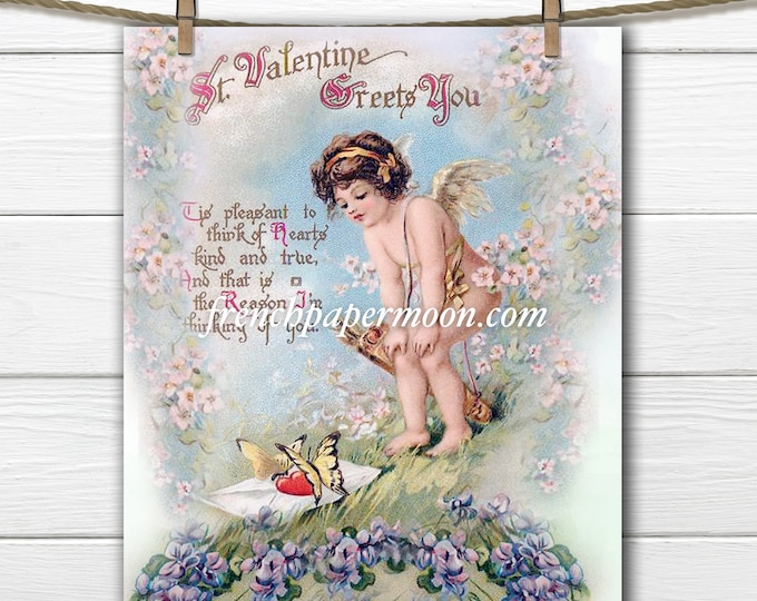 Adorable Digital Valentine Cupid, Victorian Valentine, Vintage Valentine Image, Graphic Transfer, Pillow Image, Craft Supply