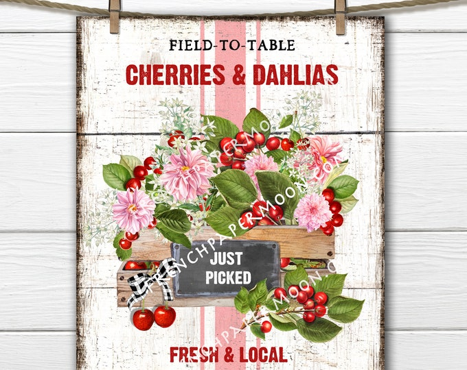 Farmhouse Fruit, Digital, Cherries, Dahlias, Wreath Accent Decor Sign, Tiered Tray Fruit Sign, Kitchen Fruit Wall Art, Image Transfer, PNG