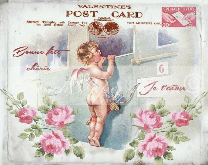 Valentine Cherub, Victorian Angel, French Valentine Pillow Graphic, Digital Download, Digital Valentine Printable, Love Postcard