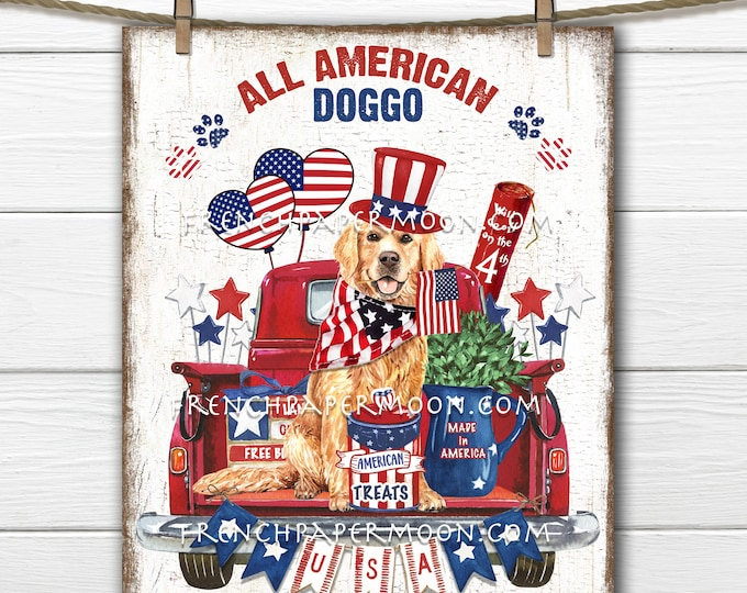 4th of July, Red Truck, Patriotic Dog, Patriotic DIY Sign, Independence, Americana, Fabric Transfer, Image Transfer, Home Decor, PNG, Wood