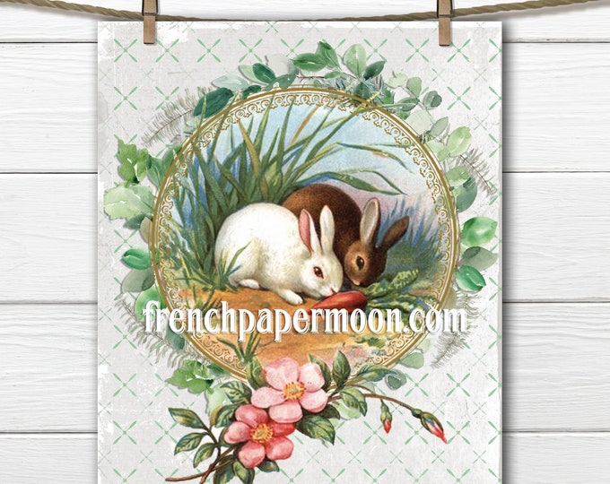 Vintage Shabby Bunny, Bunny Garden, Roses, Carrots, Spring Printable Bunny, Pillow Image, Wreath, Sublimation, Crafts