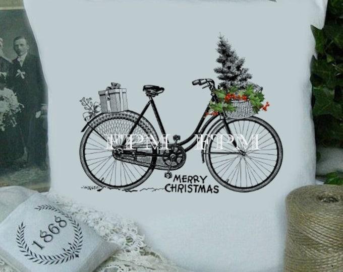 Digital Christmas Bike, Vintage Christmas Bike Download, Christmas Image Transfer, Iron on fabric