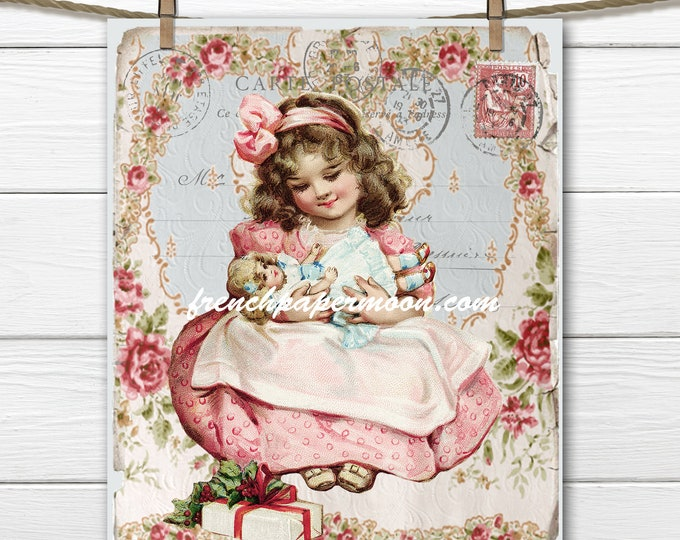 Shabby Chic Victorian Girl with Doll Printable , French Digital Christmas Postcard, Instant Download Digital Image