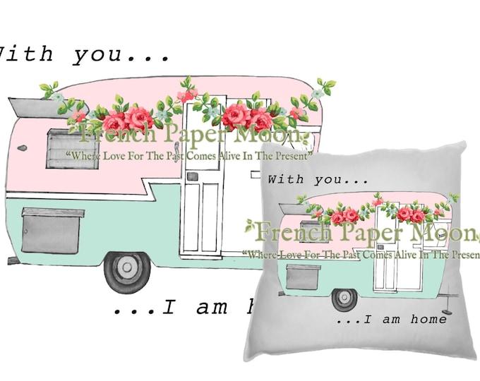 Shabby Valentine Camper, Love, Retro Camper, trailer, RV, DIY Digital Camper Pillow Image, Camper Transfer, Instant Download