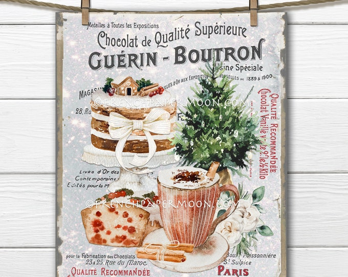 French Patisserie, Hot Chocolate, Christmas Cocoa, Xmas Bakery, Cakes, Christmas Treats, Winter Drink, Xmas Sign, Wreath Decor, Card Topper