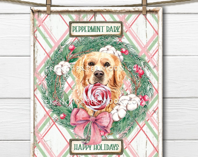 Golden Retriever Christmas Digital, Peppermint Bark Christmas Sign, Peppermint Candy,  Dog-lover Xmas Print, Fabric transfer, Wreath Decor