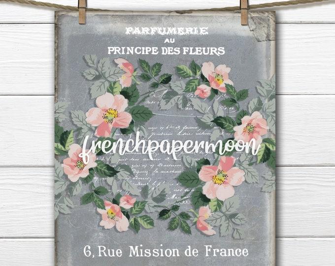 Vintage Shabby Wallpaper Flowers French typography  ephemera  graphic transfer digital print fabric transfer crafts large image