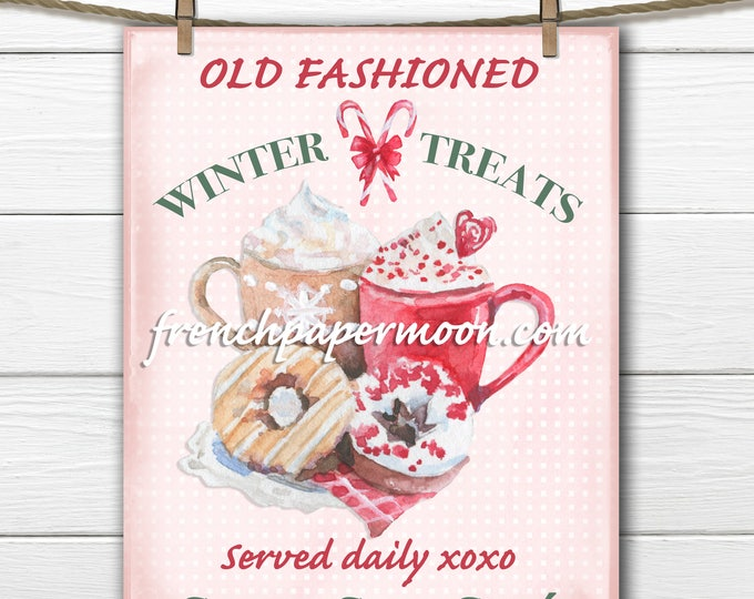 Pink Christmas Digital Hot Chocolate Printable, Winter Sign, Watercolor, Old-fashioned, DIY Xmas Crafts, Large Image