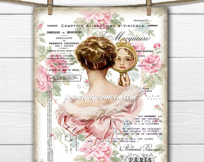 Shabby Victorian Lady, Floral Vintage Woman, French Graphic Harrison Fisher, Pillow Image, Printable Collage, Transparent, Fabric Transfer