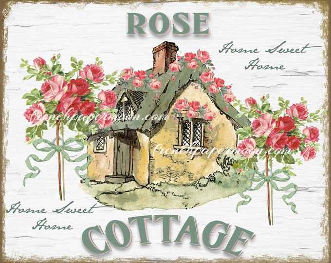 Shabby Rose Cottage Digital, Printable Home Sweet Home, Roses, Cottage, Instant Download Graphic, Large Size
