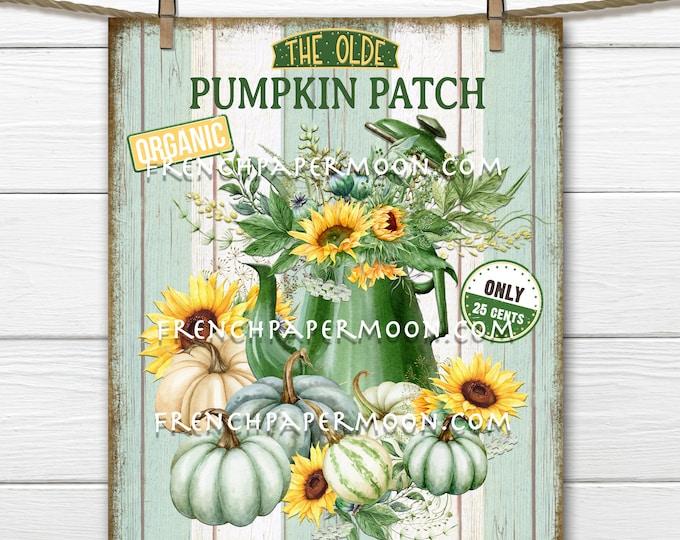 Farmhouse Pumpkins, Pumpkin Patch, DIY Pumpkin Sign, Wreath Accent Decor Sign, Tiered Tray Pumpkin Sign, Pumpkin Wall Art, Image Transfer