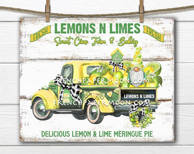 Gnome Truck, Farmhouse Lemons, Limes, Lemon Gnome, Digital Fruit Truck, Fabric Transfer, Pillow Image, Tiered Tray Decor, TeaTowel, DIY Sign