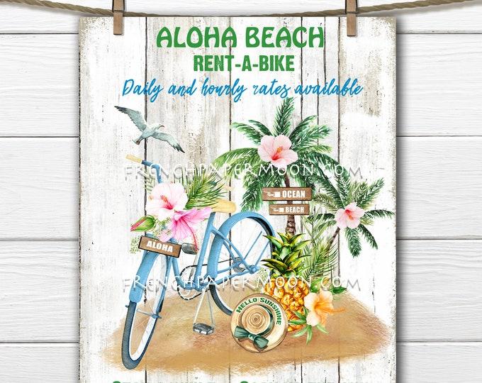 Tropical Summer, Digital, Coastal Farmhouse, Nautical, Rustic Beach, Hawaii, Bike, Beach Sign, Tiered Tray Decor, Pillow Image, PNG, Wood