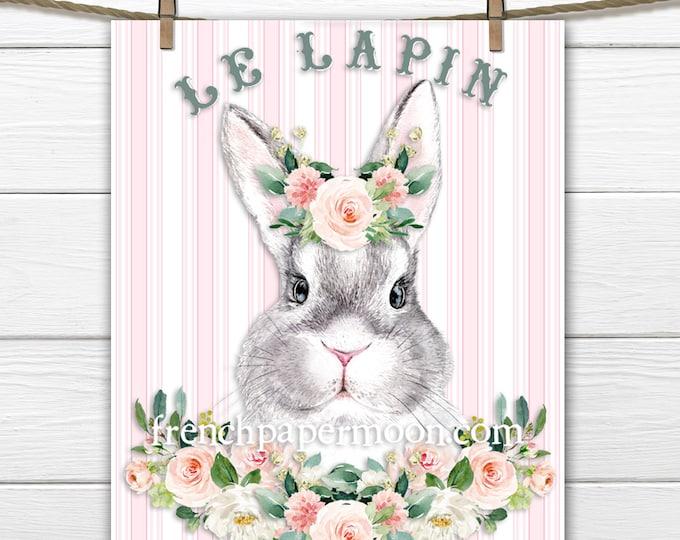 Adorable Shabby Rose Bunny Printable, Digital Bunny, Child's Room Print, Pillow Cover Image, Easter Bunny, Easter Crafts, Digital Bunny