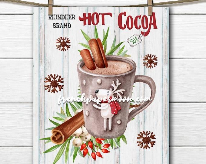 Hot Cocoa Digital, Reindeer Brand, Hot Chocolate, Winter Mug, Warm Drink, Winter Sign, Christmas Pillow Image, Cute Winter Print, PNG, Wood