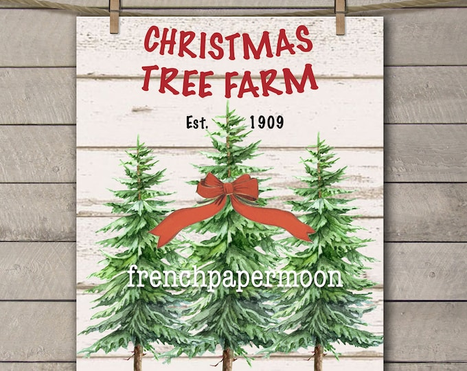 Digital ChristmasTree Download, Hand-drawn Christmas Trees, Christmas Pillow, Crafts, DIY, Large Image
