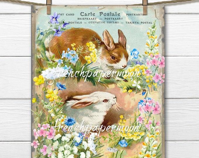 Shabby Spring Bunnies, Garden Bunny Printable, Bunny Rabbits, Wildflowers, Digital Postcard, Pillow Image, Easter Crafts, Spring Decor