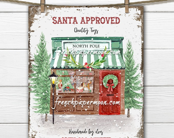 Retro Christmas Toy Store Print, North Pole, Old-fashioned, Santa Toy Shop, Fabric Transfer, Christmas Pillow Image, DIY Xmas Sign, PNG