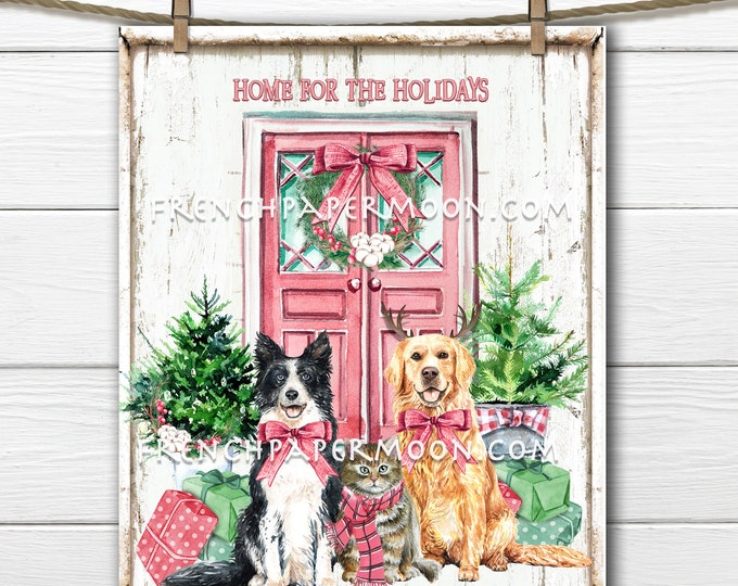 Digital Pink Christmas Pets, Pink Xmas Door, Dressed Animals, Front Door, Home for the Holidays, Pillow Image,Gift Topper, Wreath Decor, PNG