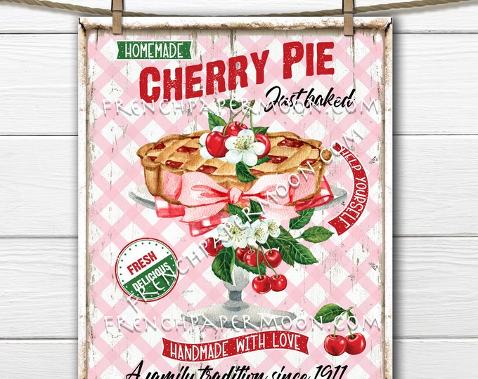 Cherry Pie, Digital, Homemade, Farmhouse Kitchen, Cherry Blossom, Fabric Transfer, Image Transfer, DIY Cherry Sign, Wreath Accent, PNG Wood
