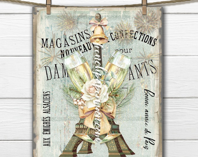 Shabby Paris New Year Digital, Happy New year, Champagne, Roses, Eiffel Tower, Fireworks, Pillow Image, DIY New Year Sign, Transparent