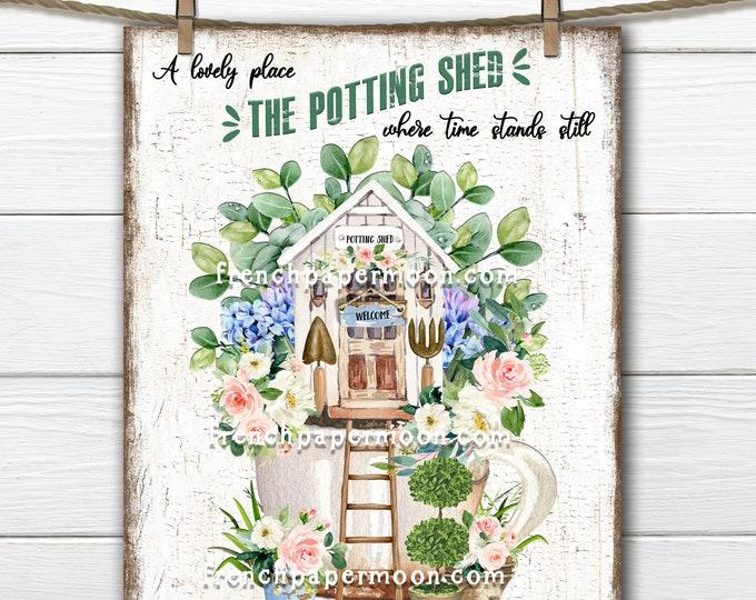 Potting Shed, Teacup Garden, Digital, Spring Garden, DIY Potting Shed Sign, Garden Lover, Wreath Attachment, Wood, PNG, Fabric Transfer