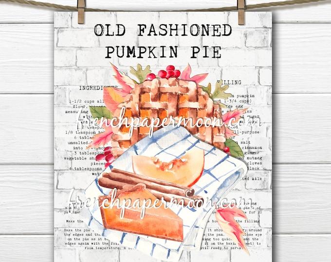 Pumpkin Pie Digital, Pie Recipe, Leaves, Farmhouse, Fall Sign, Autumn Print, Pumpkin Decor, Tea Towel Image, Transparent, Fabric Transfer