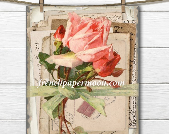 Digital Shabby French Ephemera Letters, Vintage Roses, Bundle of Letters, Printable Rose, Pillow Image, Graphic Transfer, Crafts, Home Decor