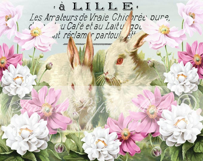 Vintage Digital Shabby Chic Bunnies, Easter Bunny Download, French Bunny Pillow image, Large Instant Download