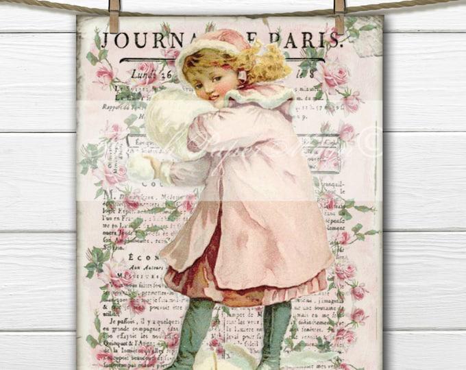 Shabby Pink Christmas, Victorian Girl Collage, Vintage Snow Girl, Digital Printable Christmas Image, Transfer
