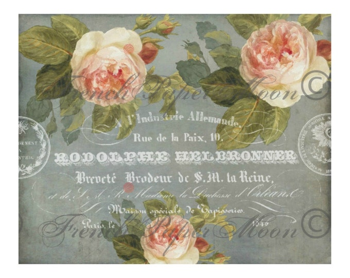 Shabby French Graphic Rose Digital, Vintage French Rose Paper, iron On Fabric, French Pillow Graphic Transfer