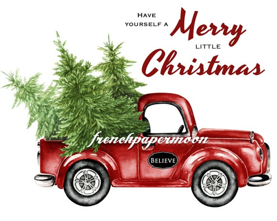 Red Christmas Truck.Digital Christmas Truck With Tree Hand Drawn Red Christmas Truck Christmas Pillow Image Instant Download Printable Xmas Transfer Graphic