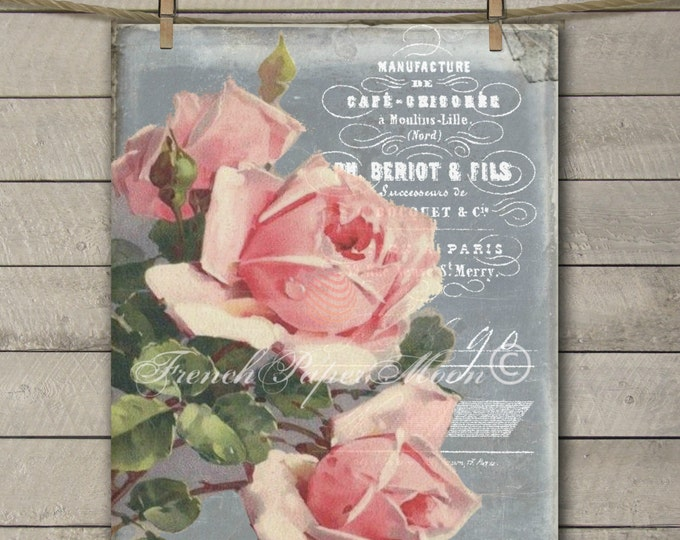 Shabby Pink Roses, Chalkboard Roses, French Digital Image, French Rose Graphic Transfer, Instant Download, Pillow Image, Craft Supply
