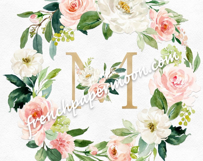 Custom Initial Floral Wreath, Printable Monogram Floral, Mothers Day, Birthday, Flower Initial, Pillow Image, Digital Download