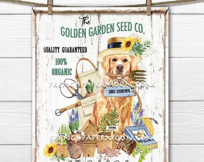 Spring Garden, Digital, Seeds, Bulbs, Tools, Golden Retriever, DIY Garden Sign, Fabric Transfer, Wreath Decor, Pillow Image, Spring Decor