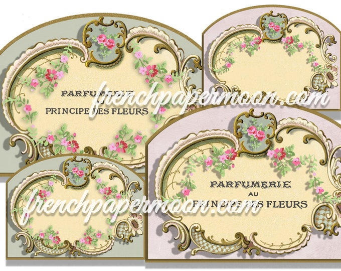 Victorian Frame Vintage Rose Blank LABEL Printable TAG Shabby Chic Display Card  Gift Tag Jewelry Holders Collage Sheet Instant Download