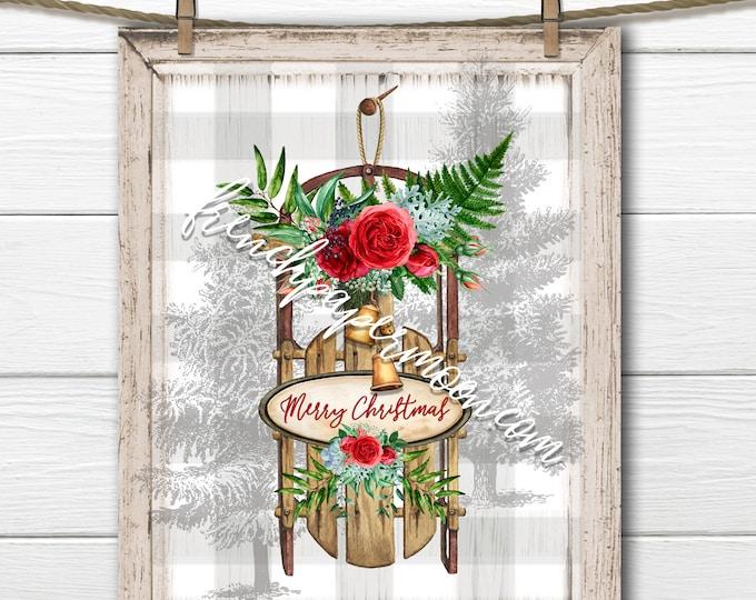 Shabby Christmas Sled Digital, Winter Sled Graphic, Floral Sled, Pillow Image, DIY Xmas Sign, Sublimation, Transparent, Plaid, Xmas