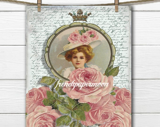 Shabby Victorian Rose Lady, French Graphics, French Iron On Transfer, Large Image, Craft Supply